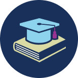 An icon representing education, consisting of a tasselled academic hat sitting on a book.